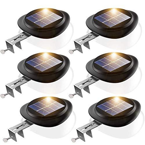 LED Solar Dachrinnenleuchte, KEENZO Solarlampen für Außen, 9LEDs Solarlicht, Auto ON/OFF, Schwarz,Kalt Weiß Licht (6er set) -