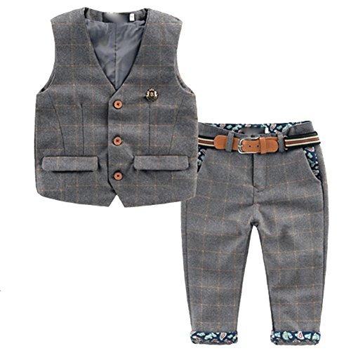 [Kinderanzug Jungen Gentleman] 2 pcs Weste + Hose mit Gürtel Bekleidungsset Baby Kleinkind Kinderanzug Junge Anzug (92/98, Grau)
