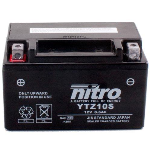Batería Nitro YTZ10S Gel, 12V/8,6ah (tamaño: 150x 87x 93) para Yamaha YZF1000R1Diseño...