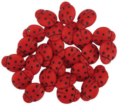 Dress It Up pulsanti coccinella pulsante di plastica Jesse James 1859 10 x 7,5 x 2 cm, Rosso