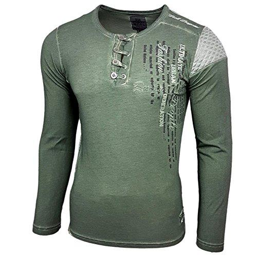 Rusty Neal Herren Longsleeve T-Shirt Langarmshirt Hemd Langarm Sweatshirt 10139 Khaki