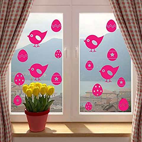 Easter Chicks And Easter Eggs Window Or Wall Sticker. FUCHSIA. SINGLE USE. Self Adhesive Vinyl Decorations For Home, Shop or