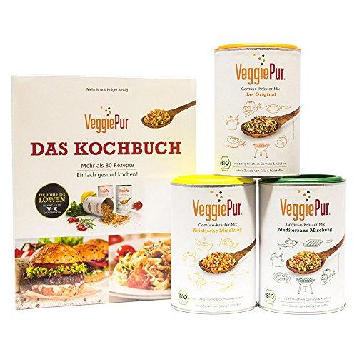 VeggiePur Probierset ( Bio Gemüse-Kräuter-Mix Set 3-tlg. je 130g ) (Mit Rezeptbuch)