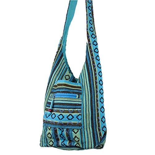 Borsa a tracolla in tela di cotone, stile hippie, con motivo a losanghe, adatta per feste, in 5 colori (blu)
