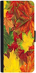 Snoogg Beautiful Autumn Maple Leaves Backgrounddesigner Protective Flip Case ...