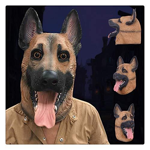 oween Kostüm Party Tier Jurasic Kopfmaske Deutscher Schäferhund Real Touch ()