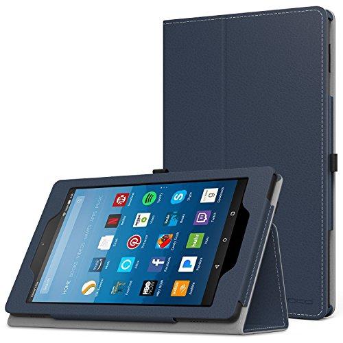 MoKo Hülle für All-New Amazon Fire HD 8 Tablet (7th & 8th Generation - 2017 & 2018 Modell) - Kunstleder Ständer Schutzhülle Smart Cover mit Stift-Schleife, Marineblau