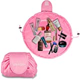 Lazy Drawstring Makeup Bag Portable Large Travel Cosmetic Bag Pouch Travel Makeup Pouch Storage Organiser For Women Girl (PINK)