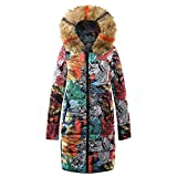 IZHH Damen Mantel, Fashion Damen Winter Warm Lange Daunen Baum Faux Plüsch Hut Parka Exquisite Street Graffiti Style Print Kapuzenmantel Steppjacke Outwear(Khaki,Small)