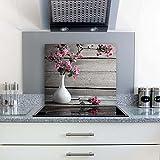 gsmarkt | Herdabdeckplatten Ceranfeldabdeckung Spritzschutz Glas 60x52 Blumen Pink Holz