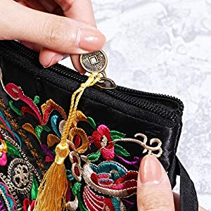 51DbuubnRGL. SS300  - Tinksky Vintage Mujer étnica Monedero Cartera Bolsa Mariposa Flor teléfono