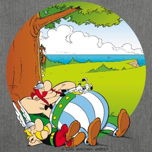 Spreadshirt Asterix & Obelix Machen Siesta Mit Idefix Schultertasche aus Recycling-Material Dunkelgrau Meliert