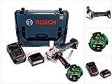 Bosch GWS 18 V-125 SC Professional 125 mm Akku Winkelschleifer in L-Boxx mit GCY 30-4 Connectivity Modul und 1 x 6,3 Ah EneRacer Akku und Ladegerät