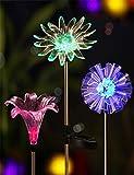 JFJL LED-Farbwechsel Solar Stake Lights Im Freien, Solar-Licht LED-Garten-Dekor-Statuen, Terrasse Leuchtet LED Outdoor Multicolor Wechselnde LED-Leuchten, [3Er-Set]