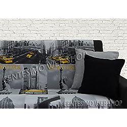 Centesimo Web Shop Telo ARREDO COPRITUTTO 2 Misure Prodotto in Italia Gran Foulard Multiuso Tuttofare COPRIDIVANO COPRIPOLTRONA - America Citta' New York - 250x290 cm Giallo