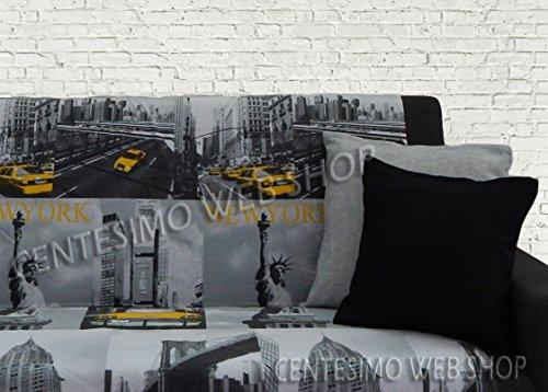 Centesimo Web Shop Telo ARREDO COPRITUTTO 2 Misure Prodotto in Italia Gran Foulard Multiuso Tuttofare COPRIDIVANO COPRIPOLTRONA - America Citta' New York - 160x290 cm Giallo