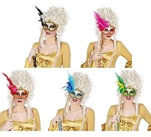 Atosa 33495Ojo Máscara, con Plumas, Multicolor