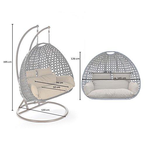 Home Deluxe Polyrattan Hängesessel Twin XXL, inkl. Sitz- und Rückenkissen (weiß) - 6