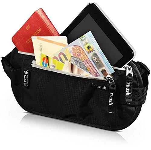 Preisvergleich Produktbild Bauchtasche flach in Schwarz mit RFID -Blockierung,  Hüfttasche,  wasserabweisend,  für Damen und Herren,  ideal für Reise,  Sport,  Fasching,  Karneval,  Festival,  Platz für Reisepass,  Smartphone,  Geld