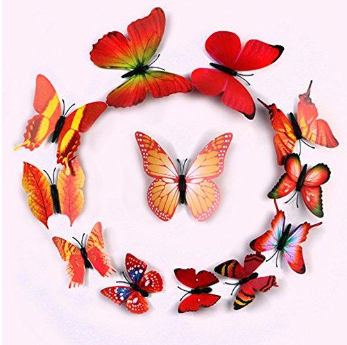 ufengke® 12 Pcs 3D Papillons Stickers Muraux Design De Mode Bricolage Papillon Coloré Art Autocollants Artisanat Décoration De La Maison Orange