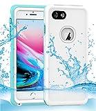Dailylux Étui étanche pour iPhone 7,Étui étanche pour iPhone 8,PC+TPU Housse de Protection pour iPhone 7/8 4.7 Pouce,Étanche Antichoc étanche à la poussière pour Boating Randonnée Natation,Blanc Bleu