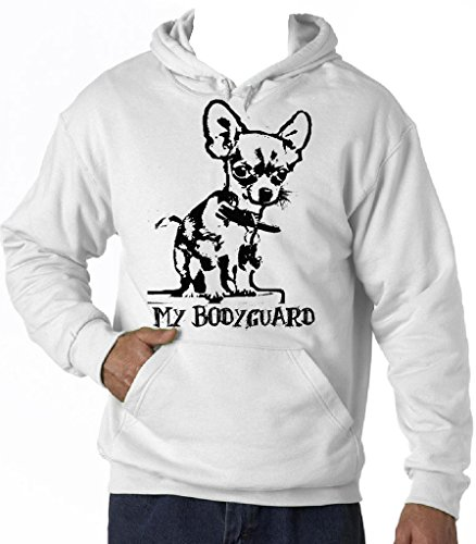 Teesquare1st Men's CHIHUAHUA MY BODYGUARD PB 5 White Hoodie Size Medium