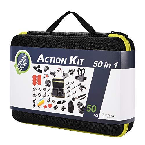 Asobeage 50-in-1 Kamera Zubehör Kit für Gopro Hero 7, Hero 4,5,6, Session, Schwarz, Hero 2018, Fusion, AKASO Yi APEMAN VIVITAR SJCAN XIAOMI DBPOWER EK5000 EK7000