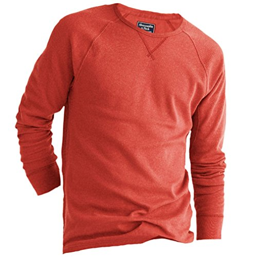 abercrombie-mens-waffle-knit-muscle-fit-crew-tee-longsleeve-shirt-size-m-orange-624511538