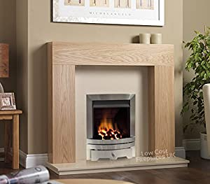 Gas Oak Surround Cream Marble Stainless Steel Silver Coal Flame Fire Modern Fireplace Suite - 48""