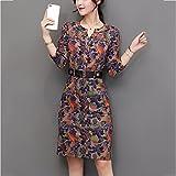 kekafu Womens Casual/Täglich eine Linie Kleid, solide runden Ausschnitt oben Knie Langarm Polyester Herbst Winter Mitte