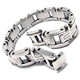 Konov Jewellery Men's Stainless Steel Cross Bracelet Bangle, Colour Silver, Length 9 inch (with Gift Bag)
