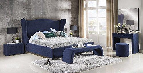 Design Luxus Lounge Polsterbett Doppelbett Futon-Bett Velours Blau SL34 NEU!