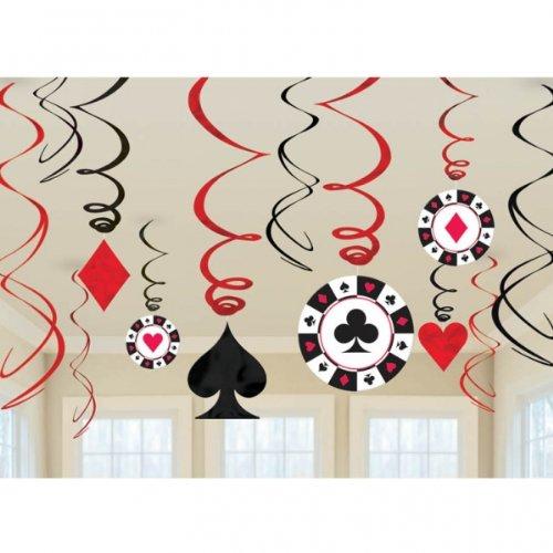 (NEU Girlanden-Set Poker Spiel spiralförmig 12 tlg.)