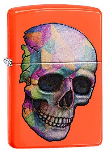 Zippo Unisex Skull Winddicht Leichter, Neon Orange, One Size