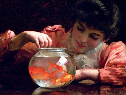 Alu Dibond 40 x 30 cm: The Goldfish Bowl von Thomas Benjamin Kennington / Bridgeman Images (Goldfish Bowl-licht)