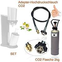 CO2Adaptateur de tuyau haute pression + 2kg Propriété Bouteille CO2pour gazéifier Soda Stream Crystal, Pingouin, etc. jusqu'à 350L d'eau par Garnissage bouillonnant.