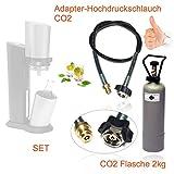 Set risparmio: Adattatore per CO2 con tubo ad alta pressione + bottiglia di CO2 da 2kg adatta per gasatori Sodastream Crystal, Penguin, ecc., fino a 350 litri di acqua frizzante per riempimento