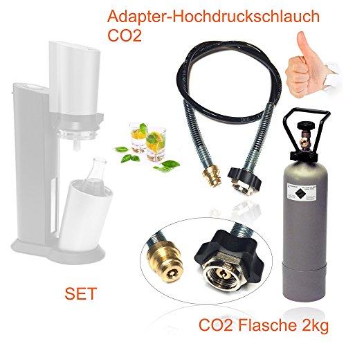 SPAR-SET: CO2 Adapter-Hochdruckschlauch 1,5m + 2kg Eigentumsflasche CO2 geeignet für Wassersprudler SODASTREAM CRYSTAL, PINGUIN etc. Bis zu 350 Liter Sprudelwasser pro Füllung!