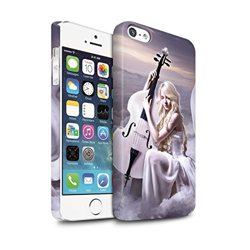 Officiel Elena Dudina Coque / Clipser Matte Etui pour Apple iPhone 5/5S / Mélodie du Silence Design / Réconfort Musique Collection Violoncelle/Nuages