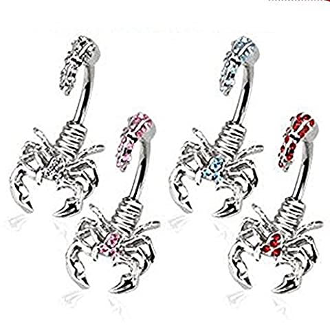 1 x Clear Crystal In and Out Angry Scorpion Belly Bar Piercing  Thickness : 1.6mm  Length : 10mm  Matériel: acier chirurgical