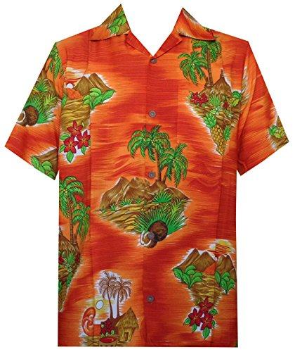 Hawaiian Shirt Herren Scenic Blume Print Strand Aloha Party Urlaub Camp Gr. XX-Large, Orange (Bahama Hawaiian Shirt)