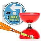 Cyclone Quartz 2 Diabolo Rot mit Orange Superglass Diablo Stäben (inkl Schnur) & 'Diabolo Directions' DVD (auf Englisch)