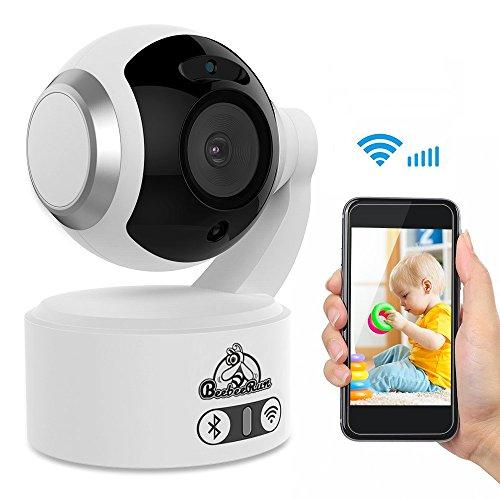 Video Babyphone Baby Monitor mit 1080p HD Überwachungskamera Zwei Audio + Nachtsicht + übersetzung Vertikale Mobile Können mit IOS/Android,Wifi Kamera,2,4 GHz(weiß)