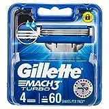 Gillette Mach 3 Turbo Manual Shaving Razor Blades 4 Cartridges