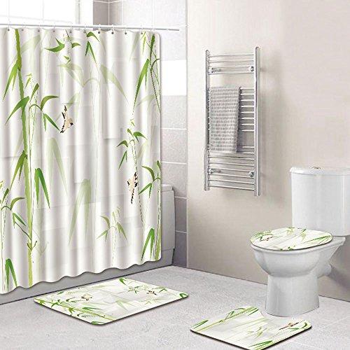 Bath Baby Badezimmer-Set. Inklusive Duschvorhang Und 3 Matten (Badezimmer-Matte + Sockel-Teppich + WC-Sitzabdeckung), 4-Teilig,G,180 * 180Cm+45 * 75Cm