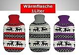 Wärmflasche mit Strickbezug Elch Motiv 1 Liter (lila)
