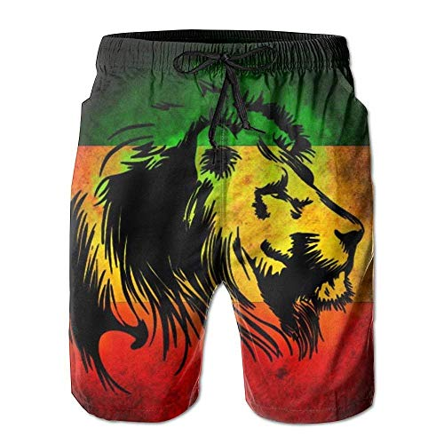 sheho Dry Rasta Lion Herren Badehose Surf Board Shorts Beach Pant Sportswear, Größe M (Rasta Herren Shorts)