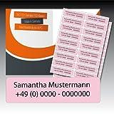 50 zweizeilig bedruckte Wäsche-Etiketten - rosa, schwarze Schrift - 15 mm x 55 mm (max. 25 Zeichen je Zeile) - in Industriequalität zum Aufbügeln - waschmaschinenfest - nicht ablösbar - von Luminess - Made in Germany