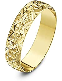 Theia Unisex Heavy Weight D Shape with Diamond Like Design 9 ct Yellow Gold Wedding Ring
