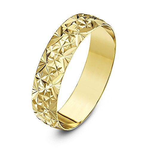 Theia Unisex Heavy Weight 5 mm D Shape with Diamond Like Design 9 ct Yellow Gold Wedding Ring - M